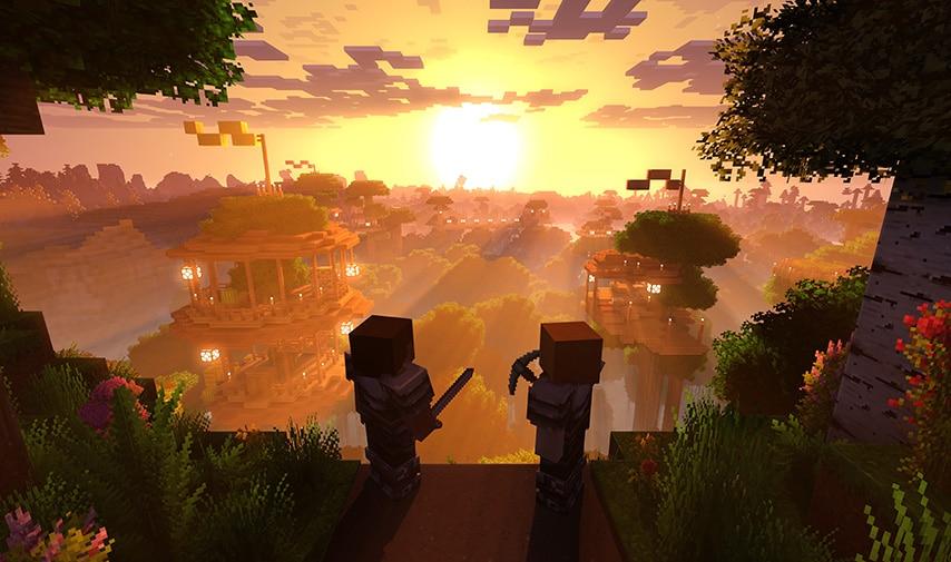 غروب آفتاب در بازی ماینکرافت